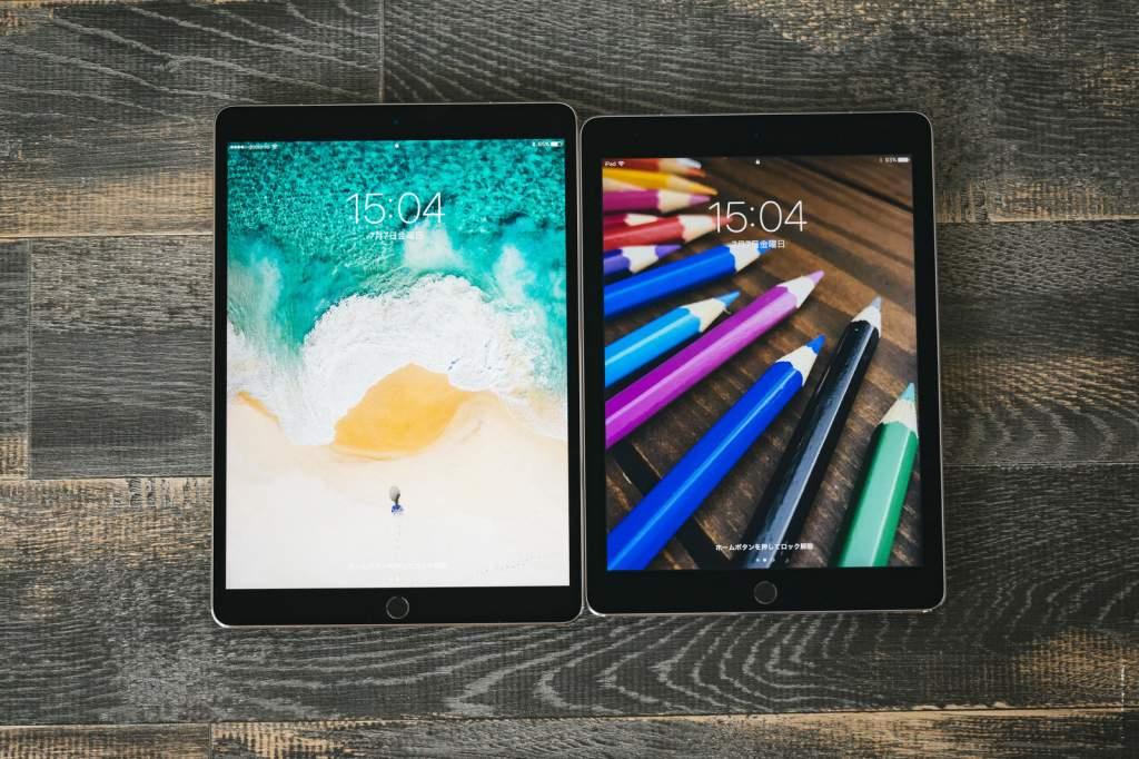 ディスプレイのサイズが異る2台のタブレット