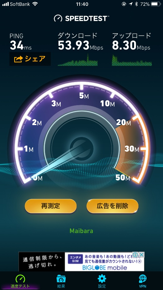 50Mbpsの下り速度