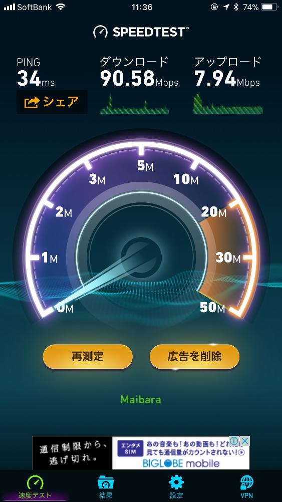 下り速度は90~100Mbps