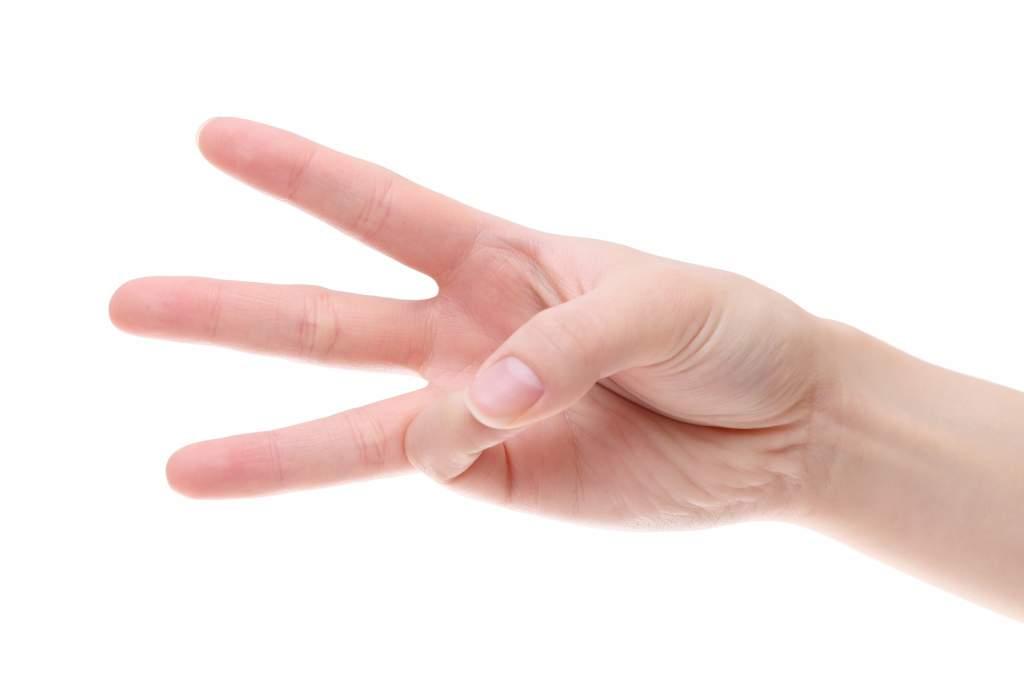 3つの事柄をさす指