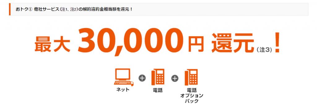 最大30000円還元