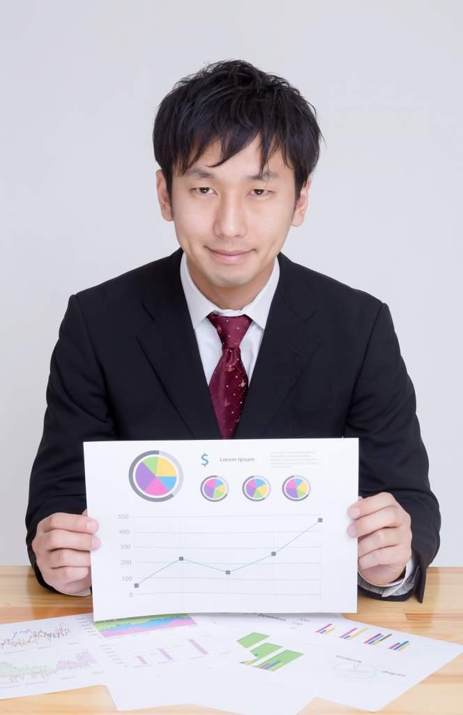 グラフが書かれた資料を見せて提案するディレクター
