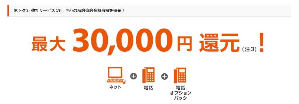 auひかりの他社の違約金を30,000円まで負担するキャンペーン