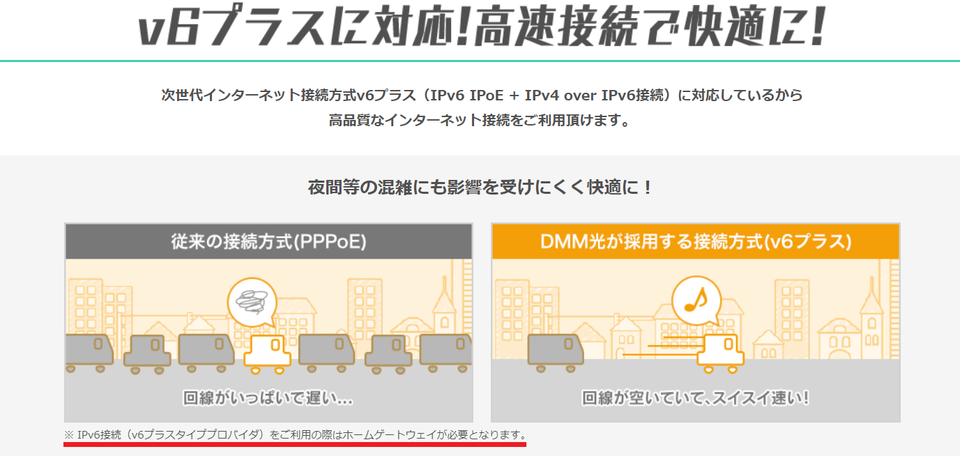 DMM光の「PPPoE」と「V6プラス」の違い
