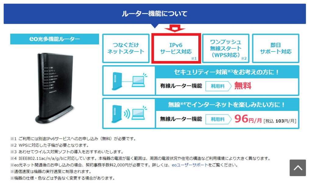 eo光多機能ルーターはiPv6サービス対応