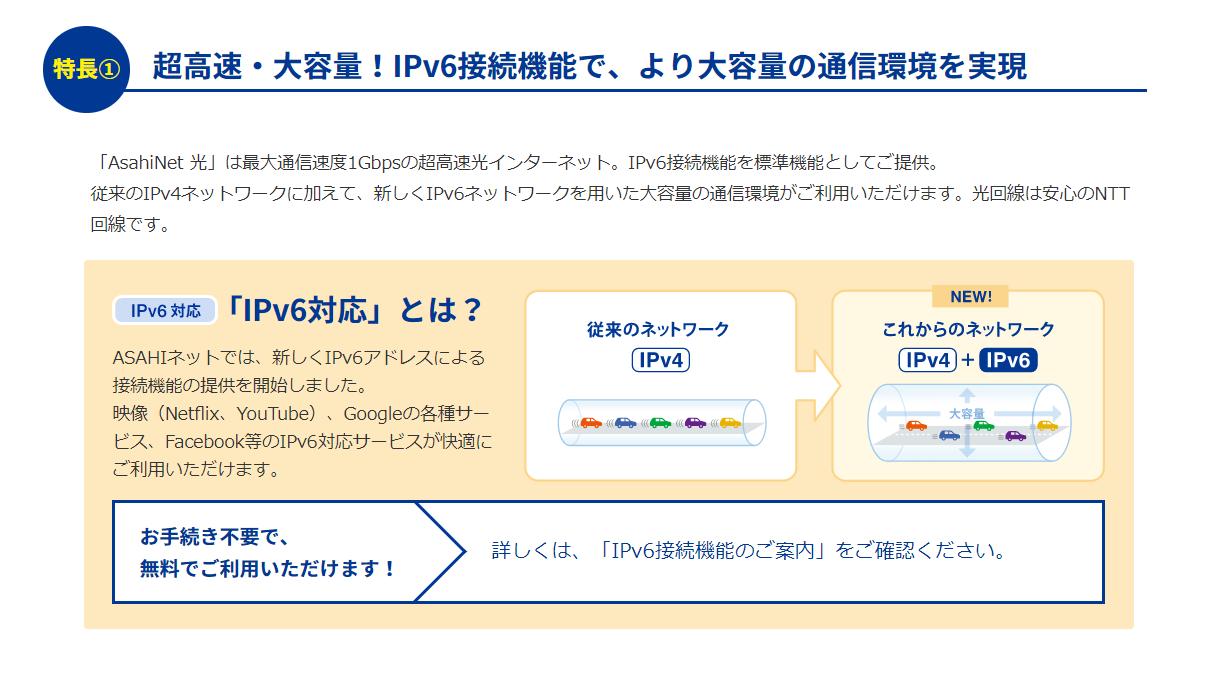 光回線で超高速、IPv6対応でより大容量の通信環境を実現