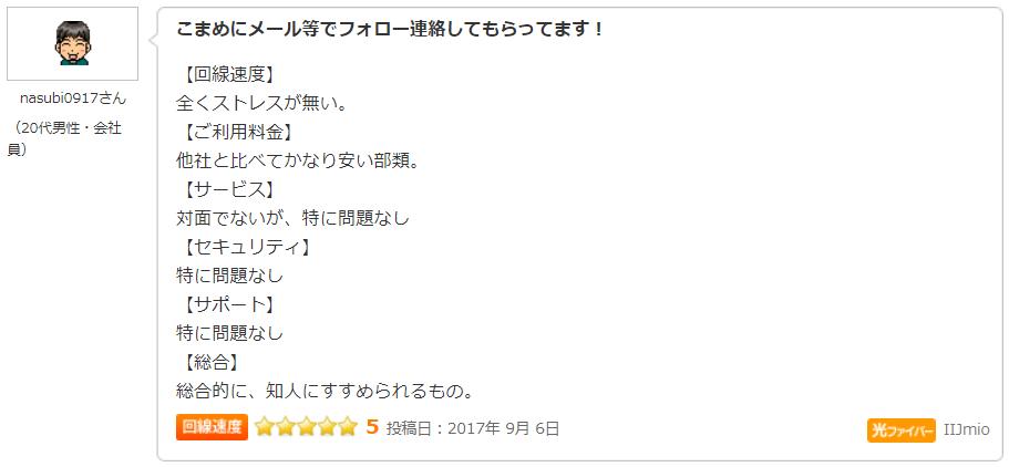 価格.com IIJmioひかり回線 クチコミ・評判