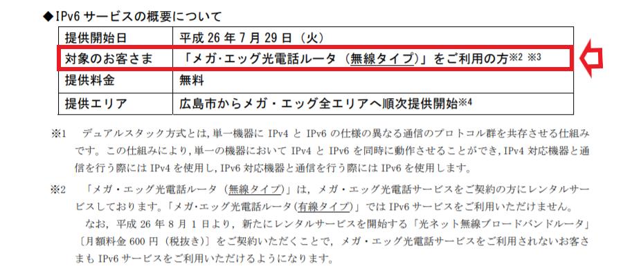 「メガ・エッグ」 IPv6 サービス概要