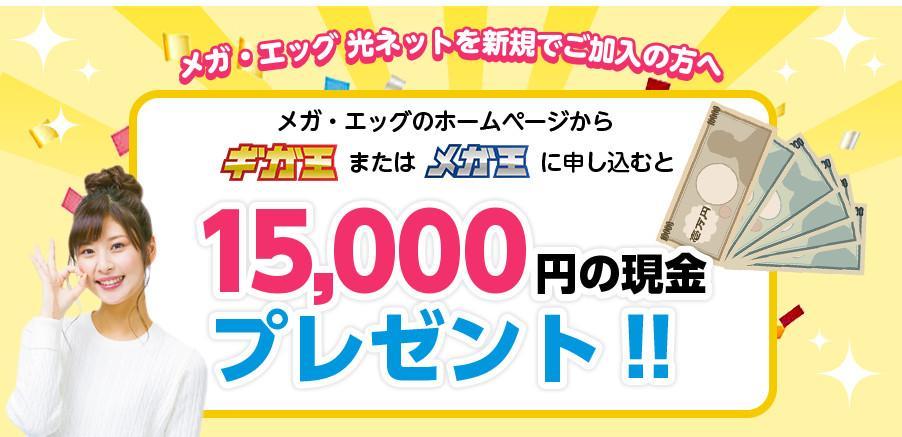 メガエッグ公式サイト 15000円キャッシュバック