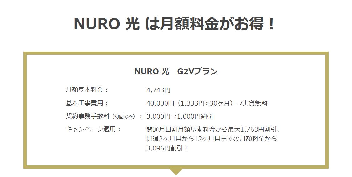 NURO光は月額料金がお得