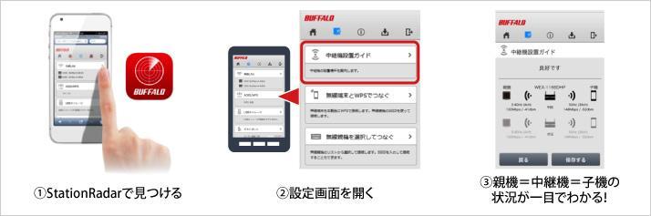 無線LAN中継器と専用アプリ