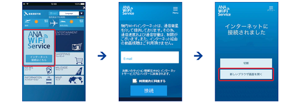 ANA機内でのインターネット接続方法