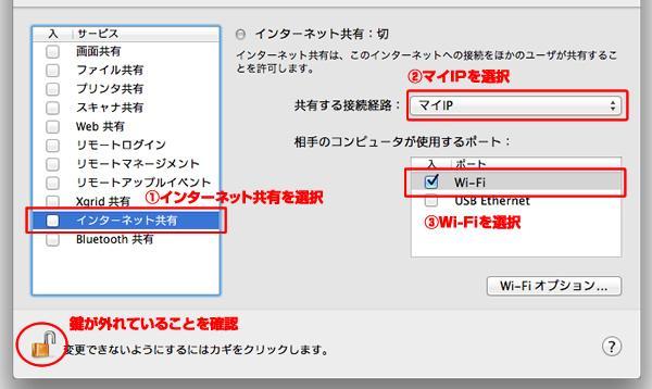 インターネット共有→マイIP→WIFI